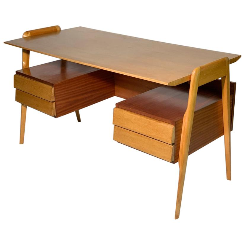 Midcentury Italian Four Drawers Writing Desk