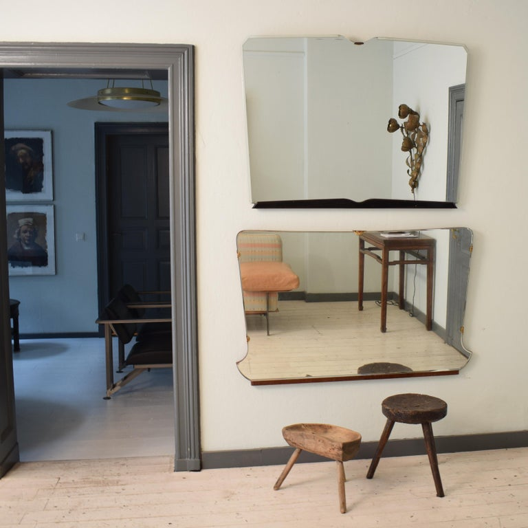Beautiful midcentury Italian frameless mirror in original condition, circa 1950. The original mirror glass has come very nice details. (See at the photos).