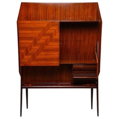 Midcentury Italian Freestanding Wall Unit with Marquetry