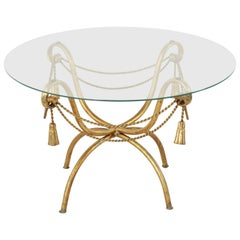 Midcentury Italian Gilt Metal Coffee Table or Cocktail Table with Glass Top