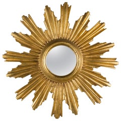 Midcentury Italian Giltwood Sunburst Convex Mirror
