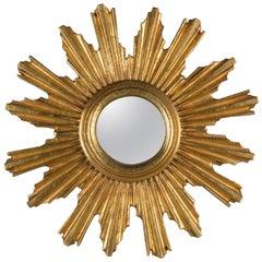 Midcentury Italian Giltwood Sunburst Mirror