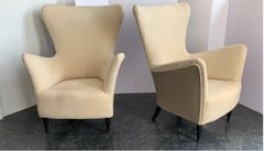 Mid Century Italian Gio Ponti Armchairs With Later Upholstery