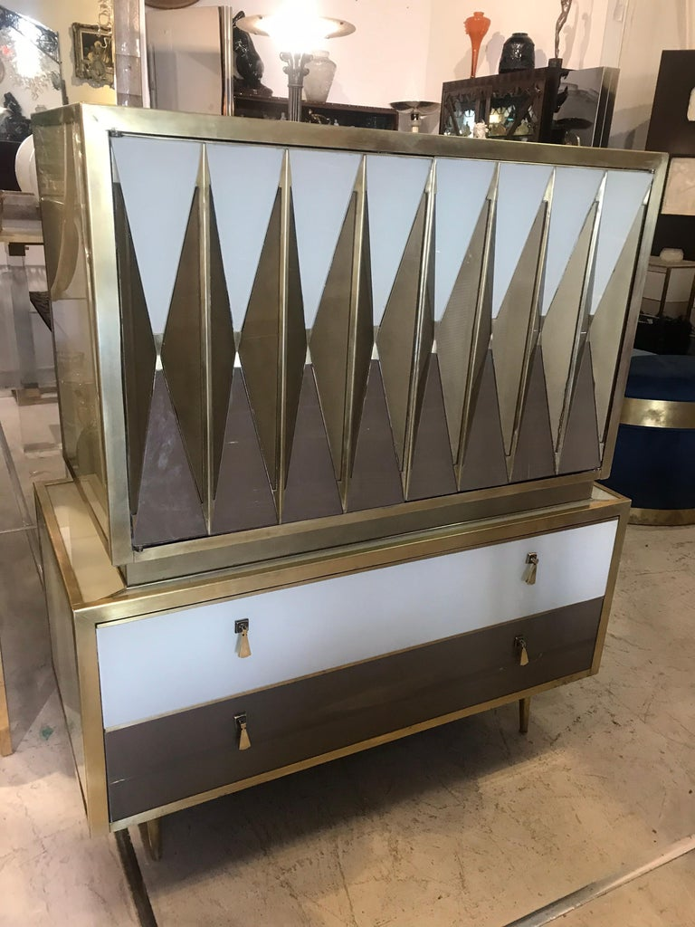 Mid-Century Modern Midcentury Italian Glass and Brass Chest of Drawers For Sale