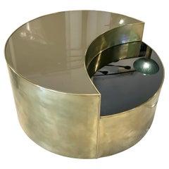 Mid Century Italian Glass, Mirror, and Brass Hi/Lo coffee Table