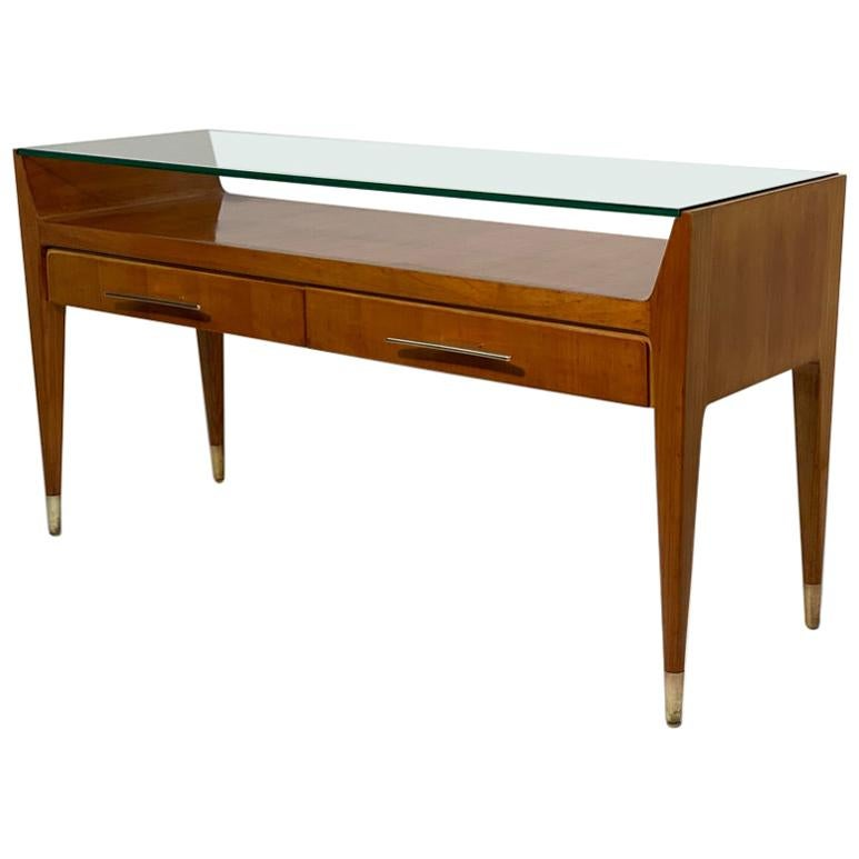 Mid Century Italian Glass top Console Brass Handles and Feet