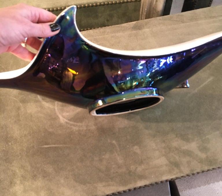 Midcentury Italian Glazed Art Pottery Bowl For Sale 1