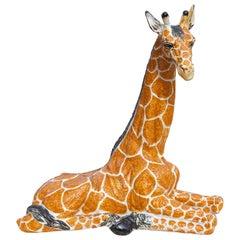 Mid Century Italian Glazed Terracotta Giraffe
