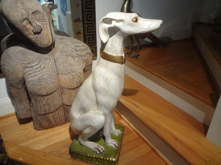 Midcentury Italian Glazed Terracotta Whippet Statue In Good Condition For Sale In Houston, TX