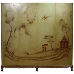 Midcentury Italian Green Chinoiserie Lacquered Cupboard with Four Doors, 1940s