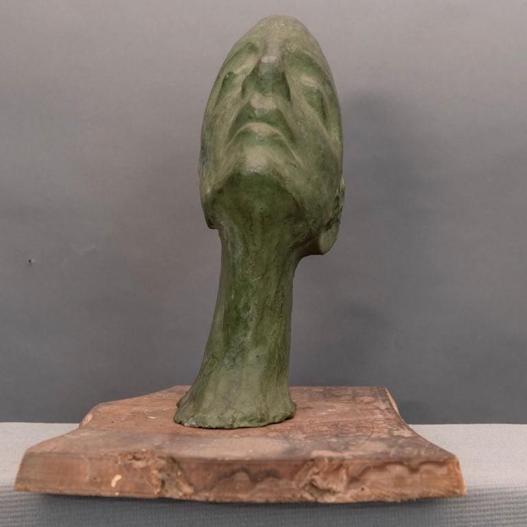 Mid-Century Modern Mid-Century Italian Green Ida Fuà Plaster Sculpture For Sale