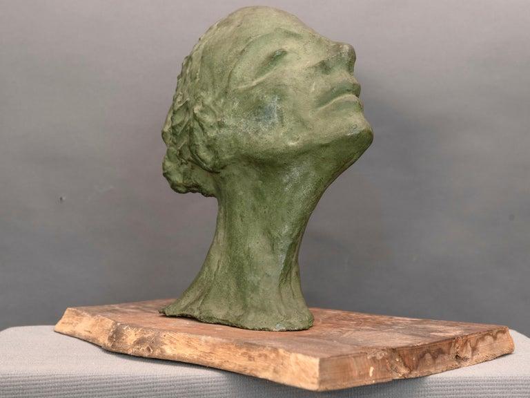 Mid-Century Italian Green Ida Fuà Plaster Sculpture In Good Condition For Sale In Paris, FR