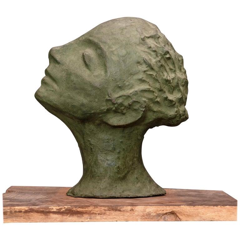 Mid-Century Italian Green Ida Fuà Plaster Sculpture For Sale