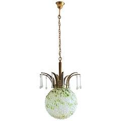 Midcentury Italian Green Murano Glass Ball Two-Light Pendant