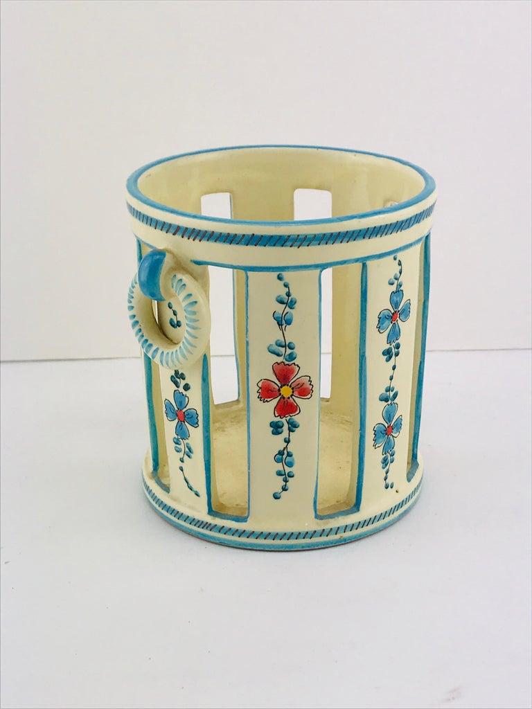 Art Deco Midcentury Italian Gualdo Deruta White Ceramic Vase, 1950s For Sale