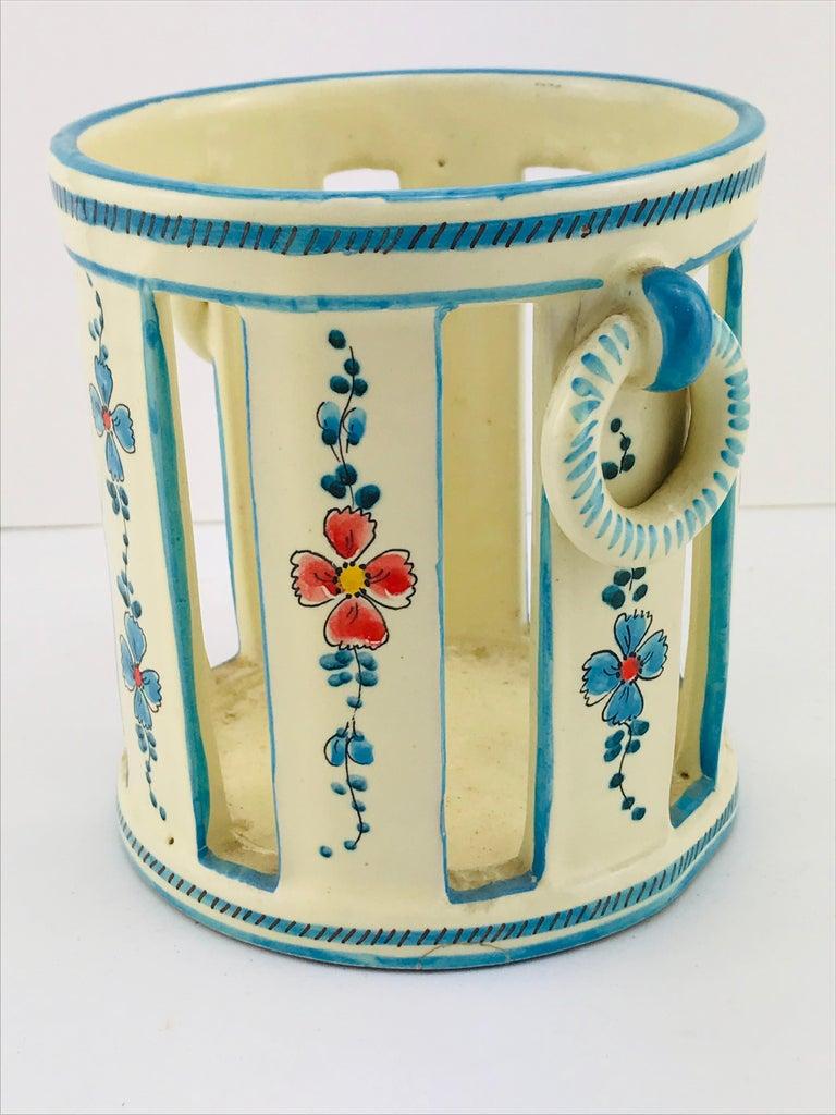 Mid-20th Century Midcentury Italian Gualdo Deruta White Ceramic Vase, 1950s For Sale