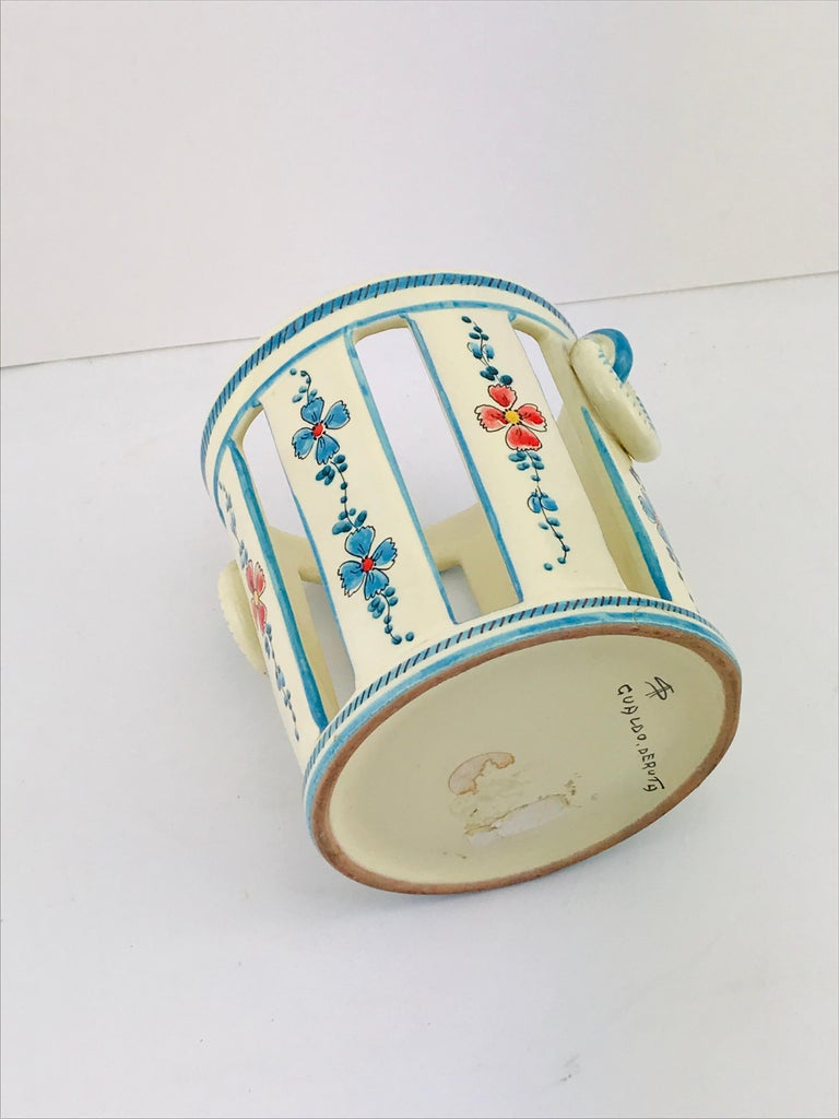 Midcentury Italian Gualdo Deruta White Ceramic Vase, 1950s For Sale 2