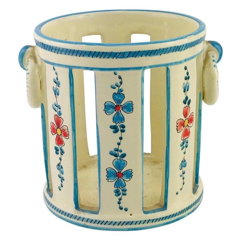 Midcentury Italian Gualdo Deruta White Ceramic Vase, 1950s For Sale