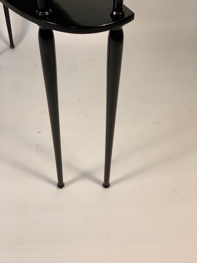 Midcentury Italian Half Moon Shaped Black Lacquered Console For Sale 6