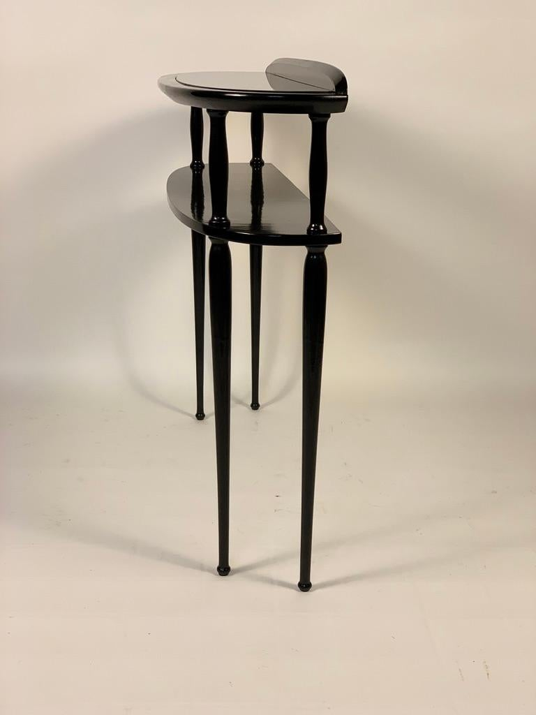 Midcentury Italian Half Moon Shaped Black Lacquered Console For Sale 7