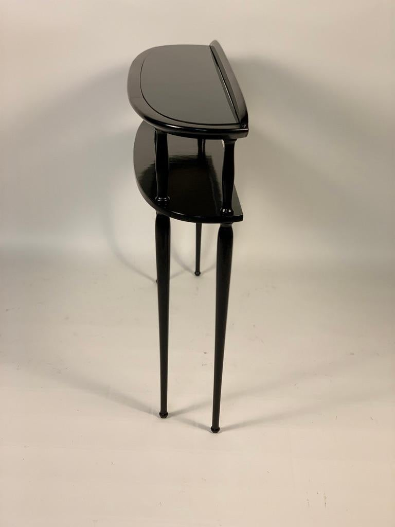 Midcentury Italian Half Moon Shaped Black Lacquered Console For Sale 8