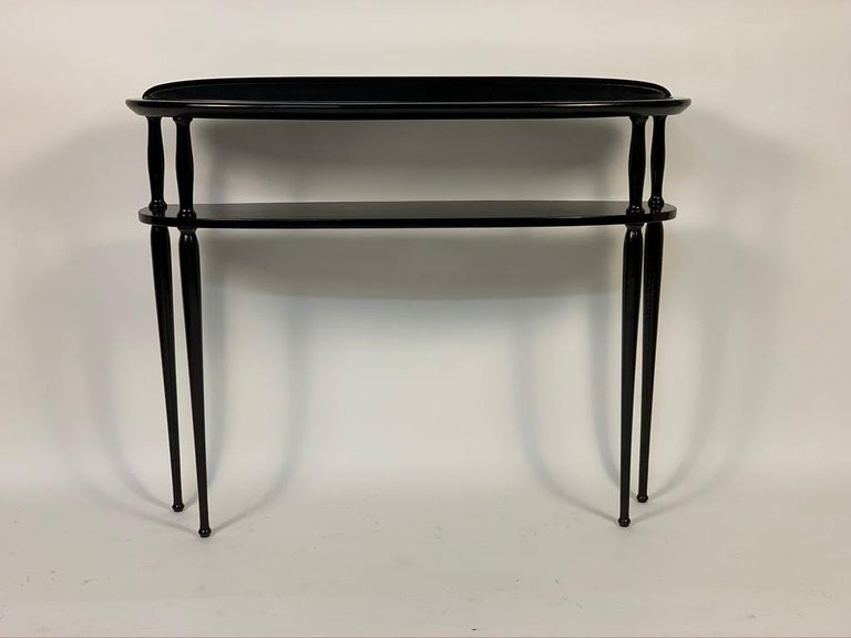 Mid-Century Modern Midcentury Italian Half Moon Shaped Black Lacquered Console For Sale