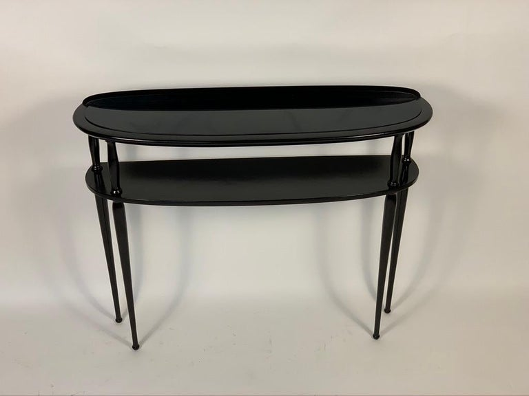 Midcentury Italian Half Moon Shaped Black Lacquered Console In Good Condition For Sale In Firenze, IT