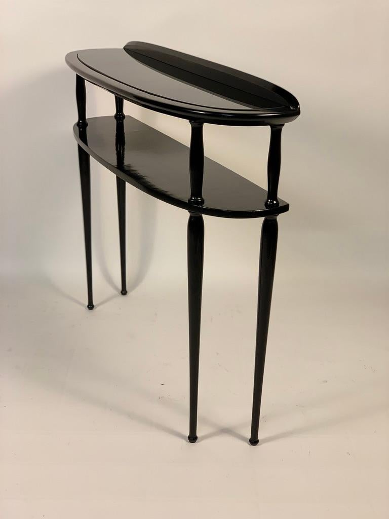 Mid-20th Century Midcentury Italian Half Moon Shaped Black Lacquered Console For Sale