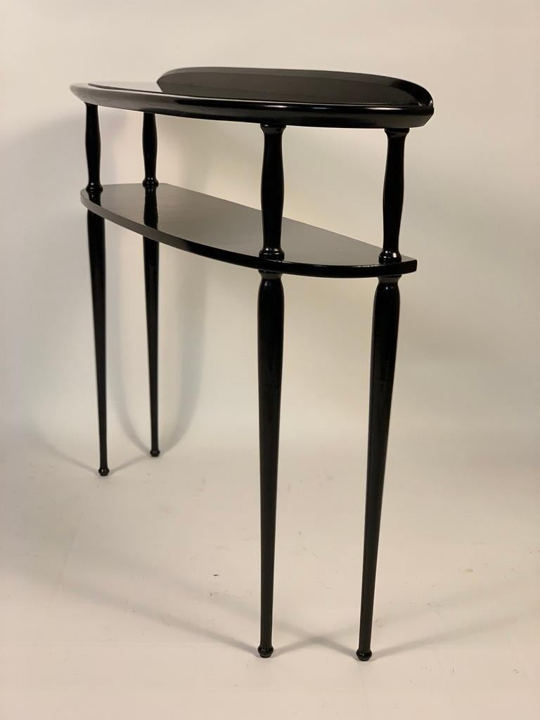 Wood Midcentury Italian Half Moon Shaped Black Lacquered Console For Sale
