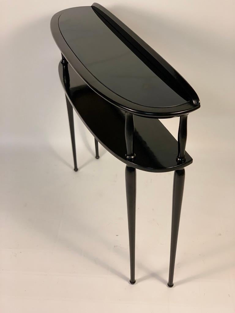 Midcentury Italian Half Moon Shaped Black Lacquered Console For Sale 1