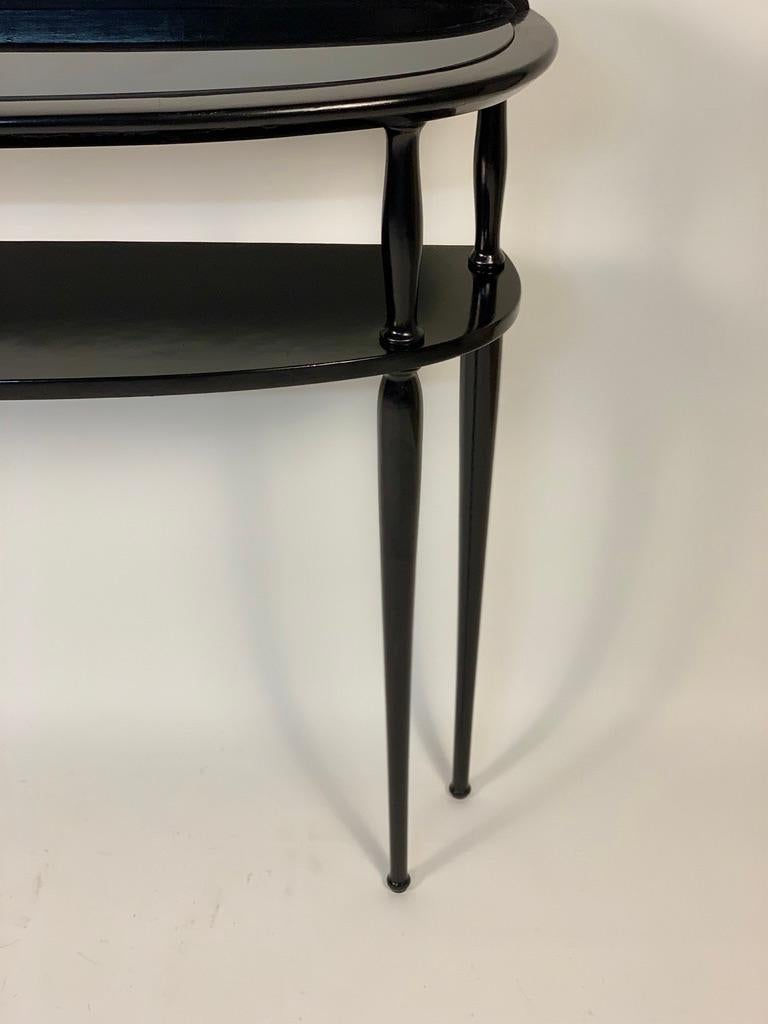 Midcentury Italian Half Moon Shaped Black Lacquered Console For Sale 2