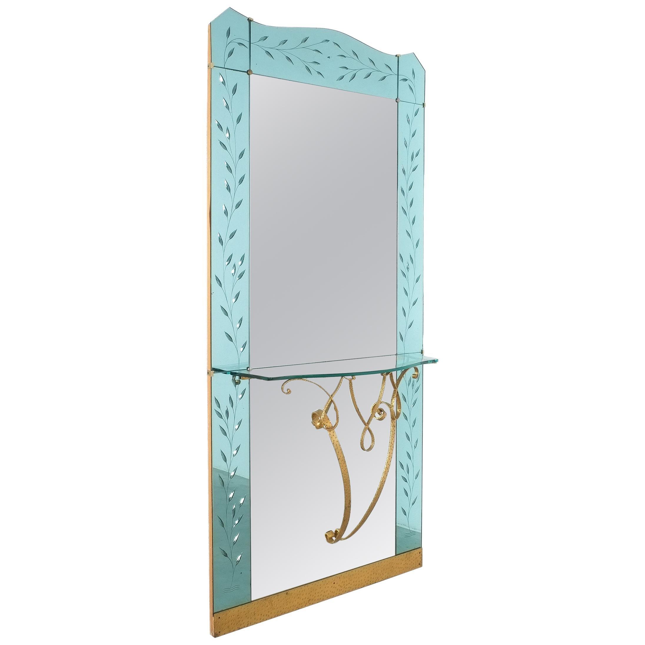 Mid Century Italian Hallway Mirror with Glass Console by Pier Luigi Colli