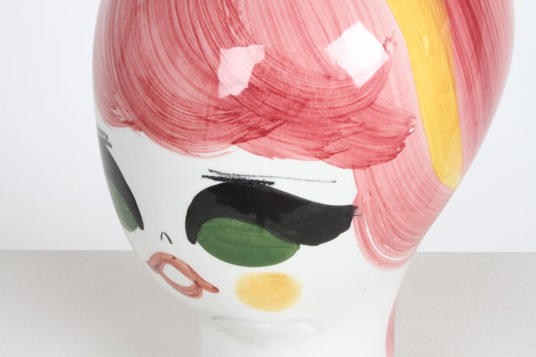 Mid-Century Italian Hand Painted Ceramic Female Head Hat / Wig Stand Sculpture  For Sale 4