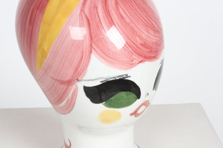 Mid-Century Italian Hand Painted Ceramic Female Head Hat / Wig Stand Sculpture  For Sale 5
