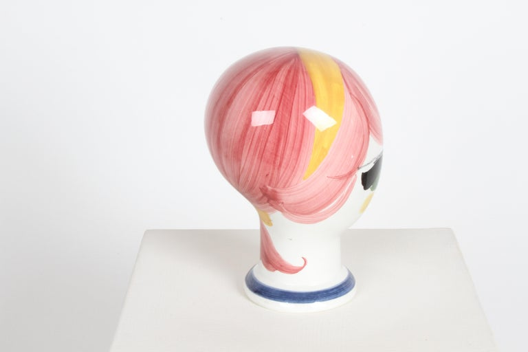 Hand-Painted Mid-Century Italian Hand Painted Ceramic Female Head Hat / Wig Stand Sculpture  For Sale