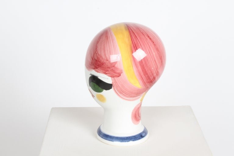 Mid-Century Italian Hand Painted Ceramic Female Head Hat / Wig Stand Sculpture  For Sale 2