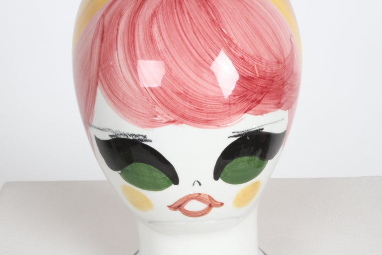 Mid-Century Italian Hand Painted Ceramic Female Head Hat / Wig Stand Sculpture  For Sale 3