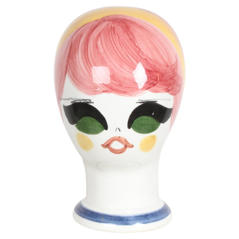 Mid-Century Italian Hand Painted Ceramic Female Head Hat / Wig Stand Sculpture  For Sale