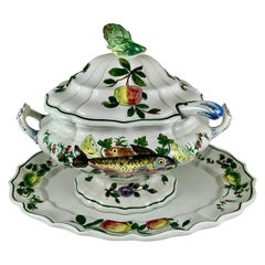 Midcentury Italian Hand Painted Fish and Fruit Tureen with Ladle & Under Platter