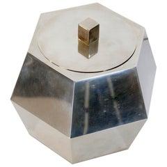 Midcentury Italian Hexagon Ice Bucket in Chrome