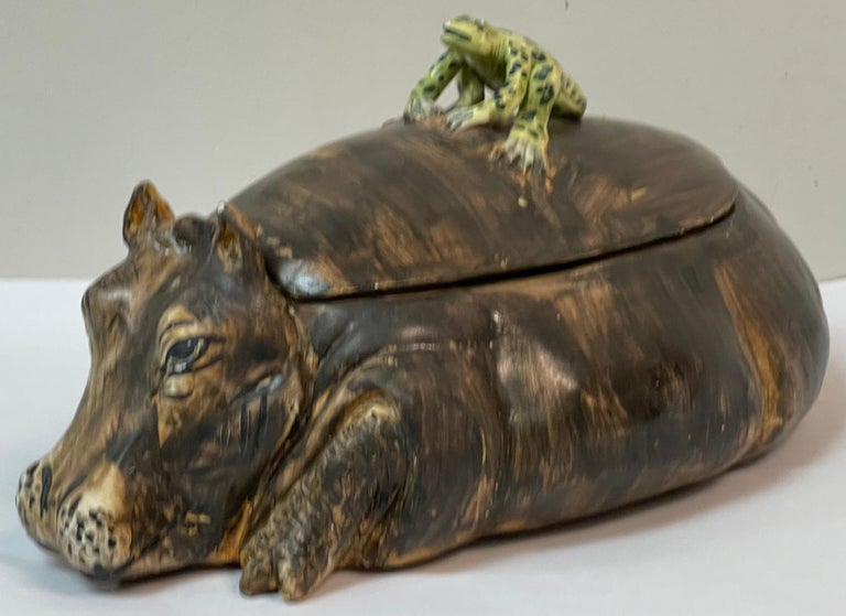 Pottery Mid-Century Italian Hippo and Frog Tureen Signed AG with a Coronet For Sale
