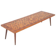 Midcentury Italian Inlaid Wood Coffee Table