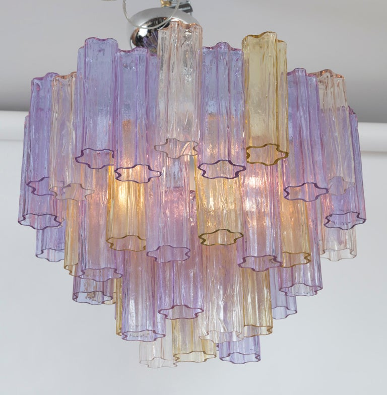 Blown Glass Mid Century Italian Layered Tronchi Ceiling Fixture For Sale