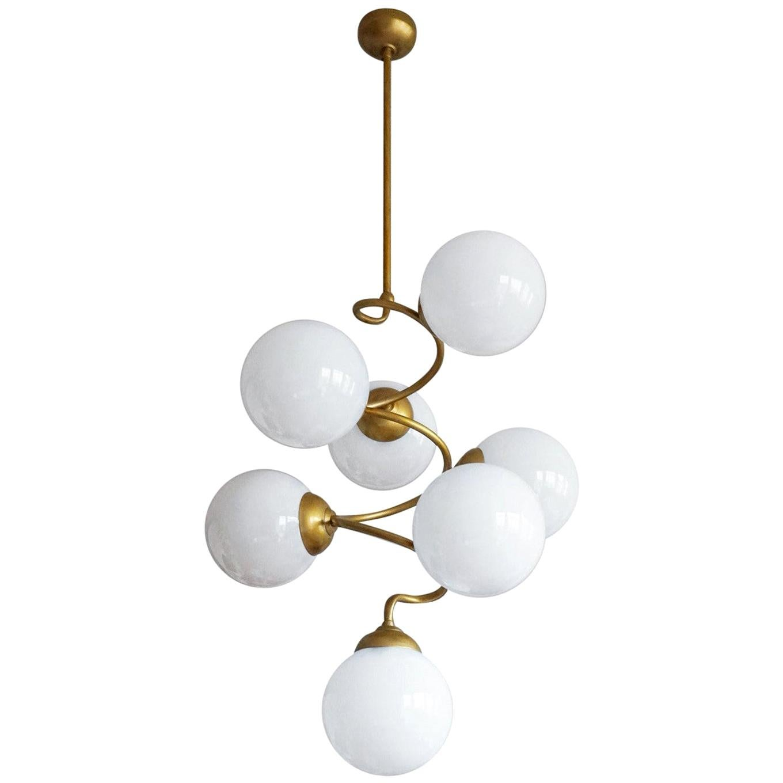 Midcentury Italian Long Spiral Chandelier with Hand Blown Opaline Glass Globes