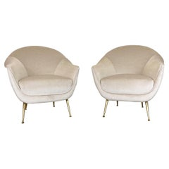 Mid Century Italian Lounge Chairs in Mohair