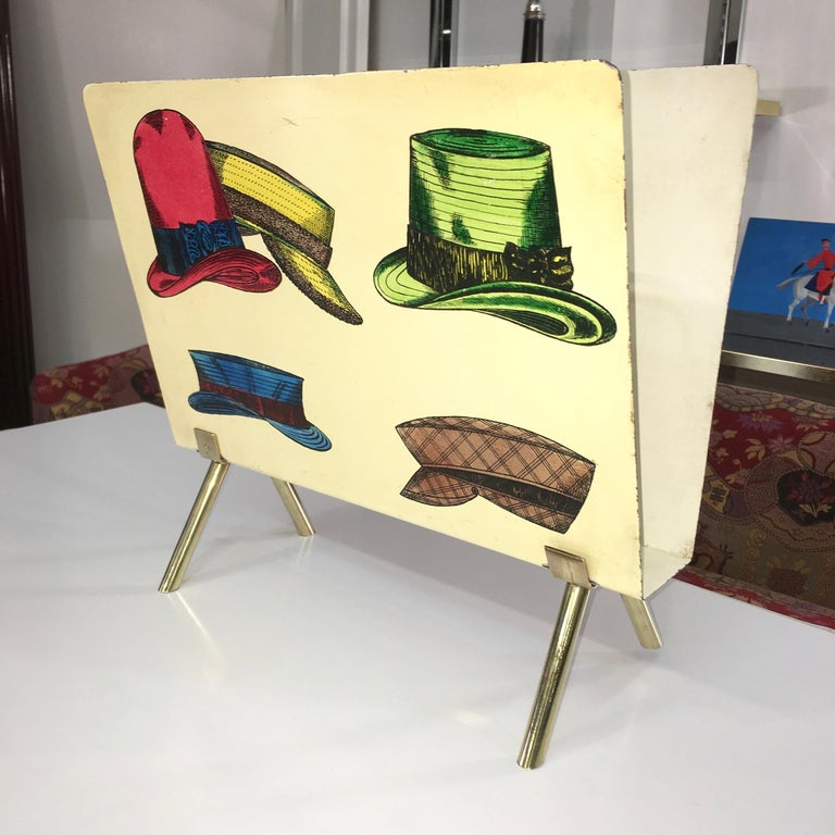 1950s Italian Magazine Holder with Colorful Hats In Good Condition For Sale In Hingham, MA