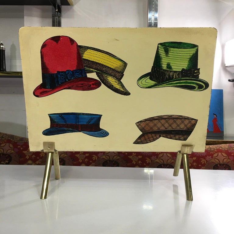 Mid-20th Century 1950s Italian Magazine Holder with Colorful Hats For Sale