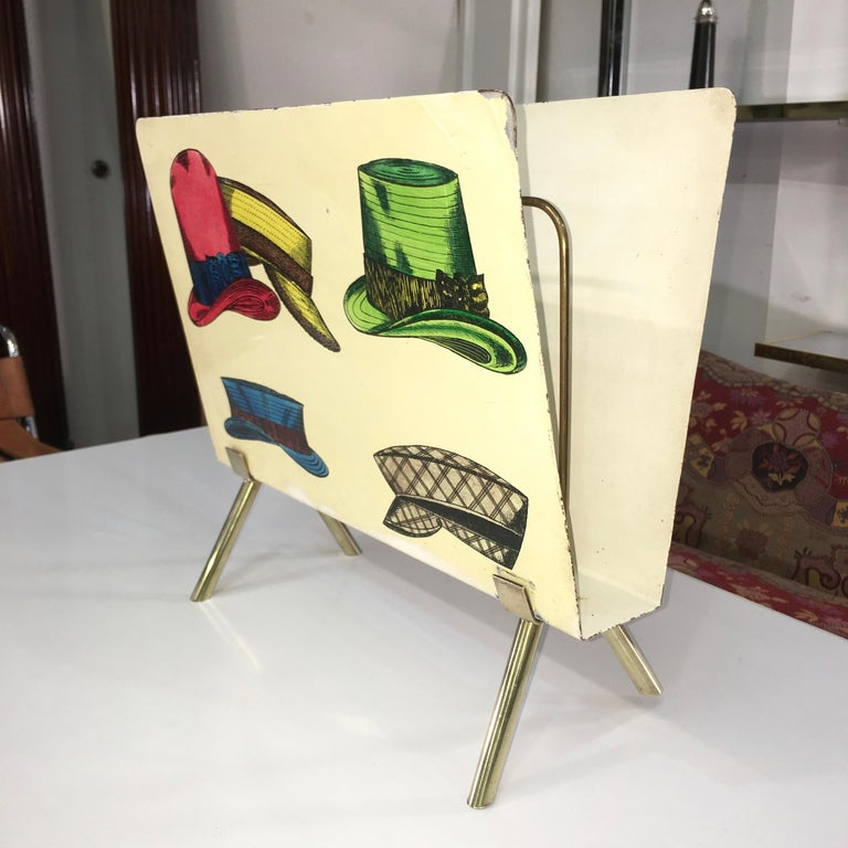 1950s Italian Magazine Holder with Colorful Hats For Sale 1