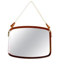 Mid Century Italian Mahogany Rectangular Shape Mirror
