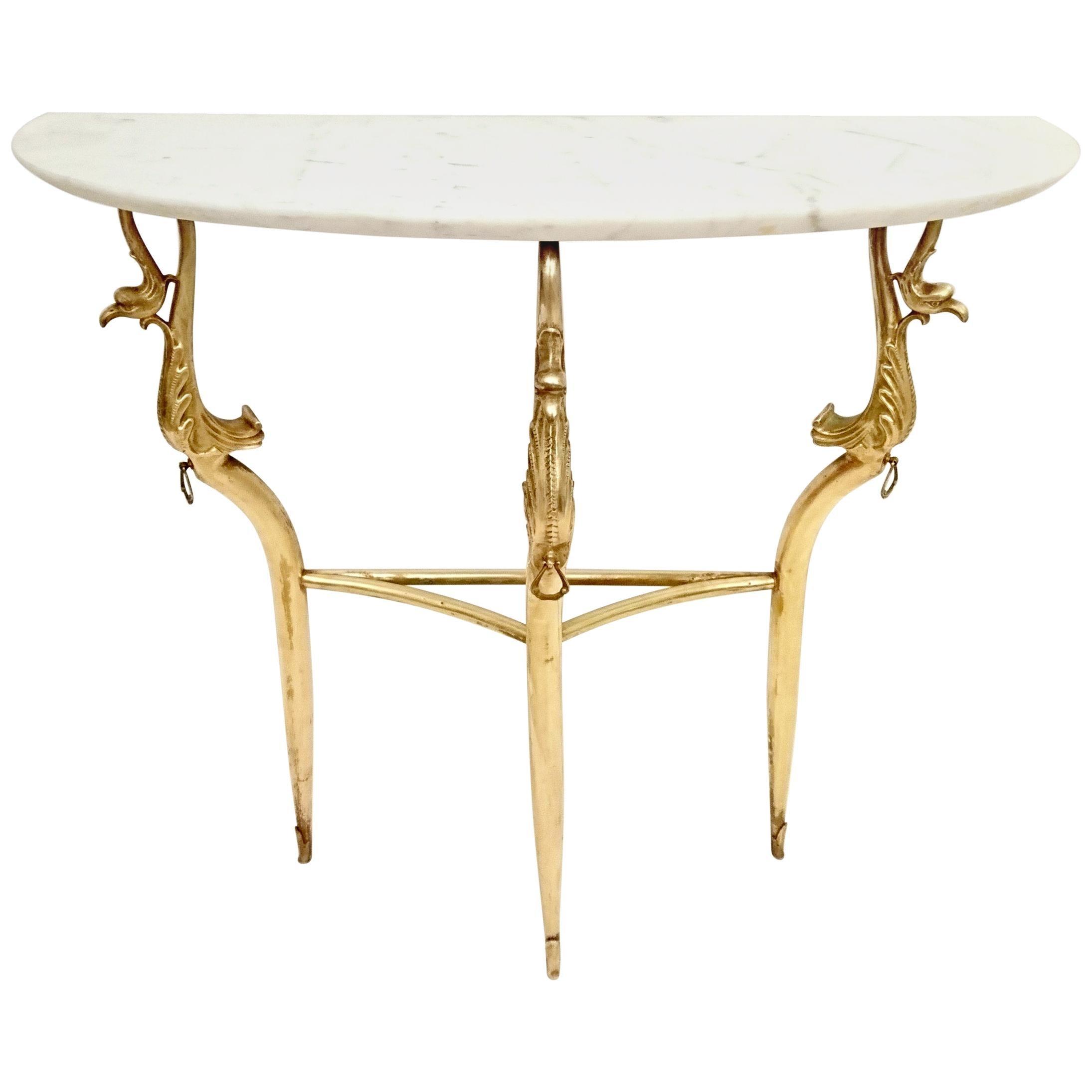 Midcentury Italian Marble Console Table